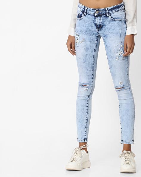 Acid-Wash Skinny Jeans By Deal Jeans ( Blue )
