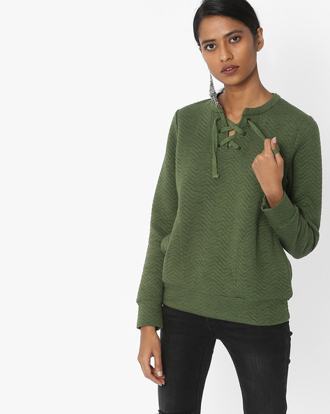 Sweatshirt With Neck Tie-Up By DNMX ( Olive )