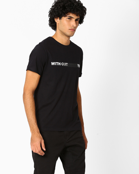 Graphic Print Slim Fit T-shirt By Blue Saint ( Black )