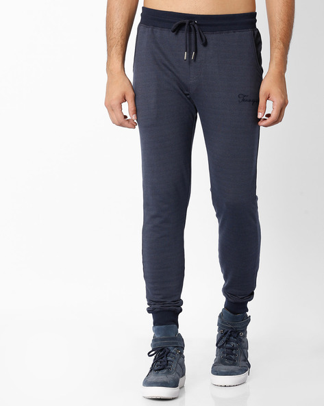 Jacquard Knit Mid-Rise Joggers By TEAM SPIRIT ( Navy )