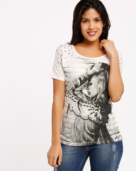 Printed T-shirt By SF Jeans By Pantaloons ( Offwhite )