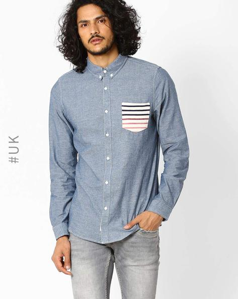 Slim Fit Shirt With Patch Pocket By Native Youth ( Blue )