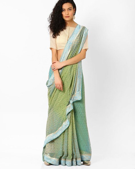 Printed Saree With Contrast Border By Pihu ( Turquoise )