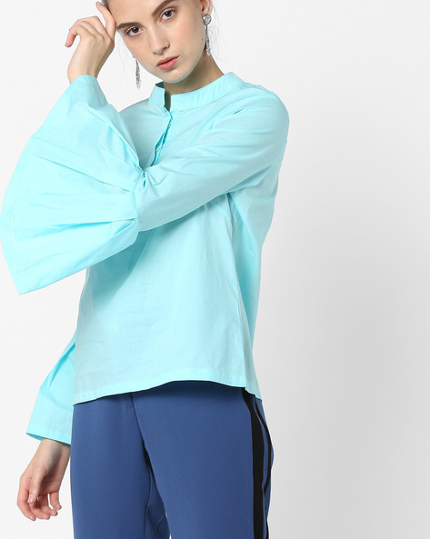 Mandarin Collar Top With Bell Sleeves By AJIO ( Blue )