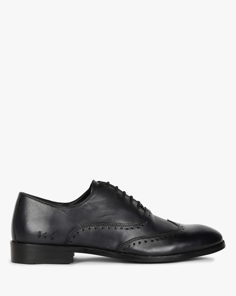 Genuine Leather Oxford Shoes By Hats Off Accessories ( Charcoalblack )