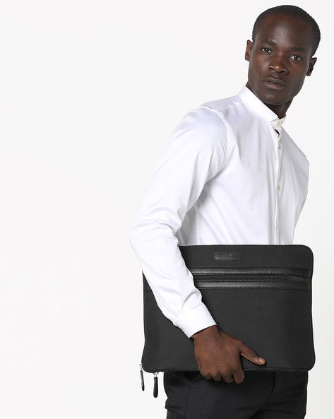 Canvas Laptop Sleeve By JUSTANNED ( Black )