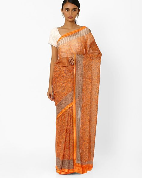 Printed Saree With Contrast Border By Akoya ( Orange )