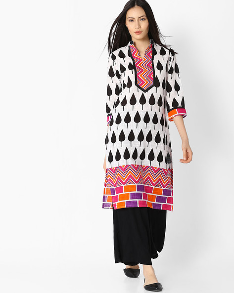 Printed Straight Kurta With Button Placket By Jaipur Kurti ( White )
