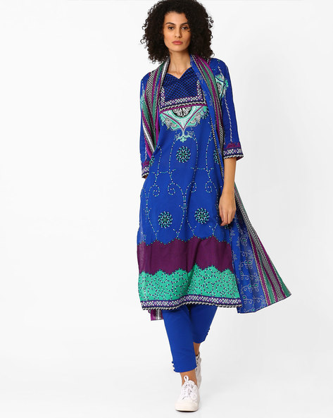 Printed Kurta With Pants And Dupatta By Uptowngaleria ( Blue ) - 460045566003