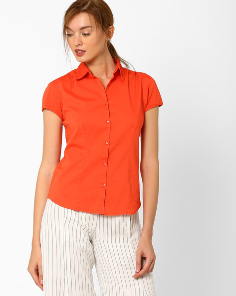 Cotton Shirt With Short Sleeves By FIG ( Pink )