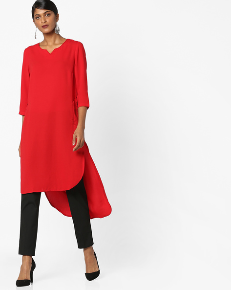 High-Low Kurta With Insert Pockets By AJIO ( Red )
