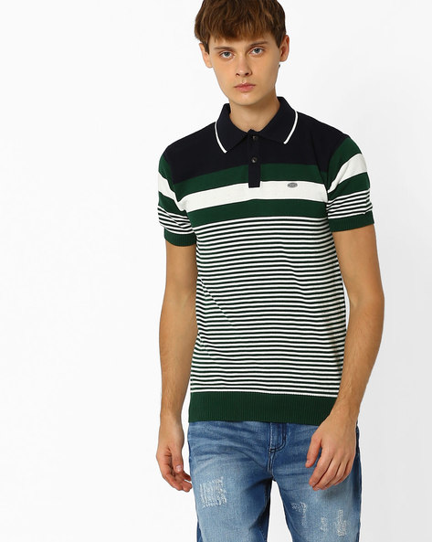 Striped Cotton Polo T-shirt By NETPLAY ( Green )
