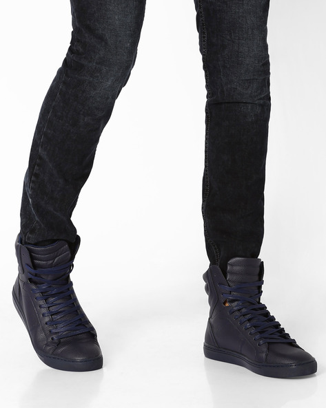 Panelled High-Top Sneakers By AJIO ( Navy )