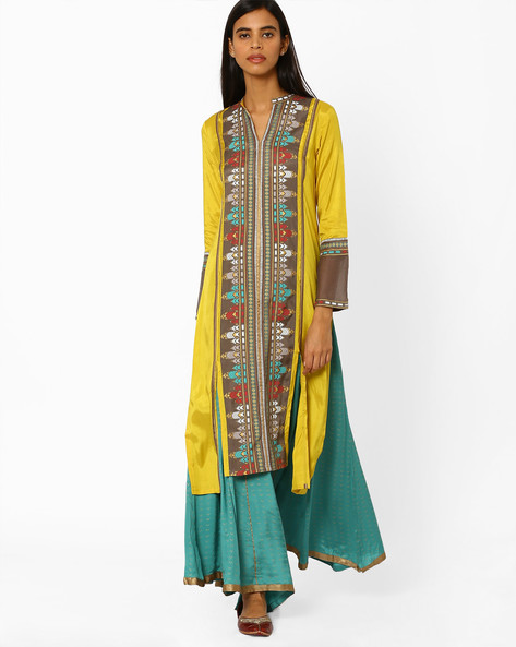 Printed Straight Kurta By W ( Yellow )