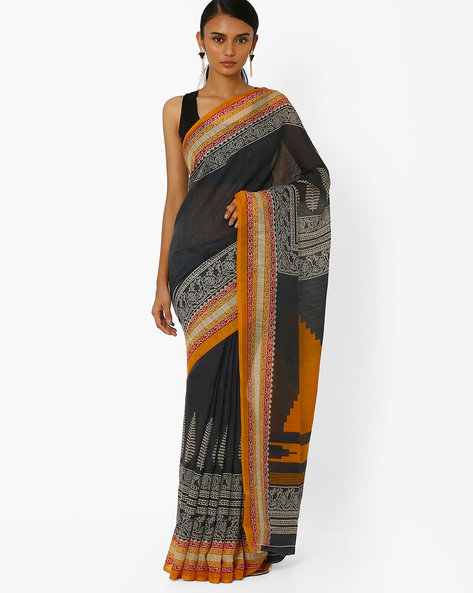Printed Saree With Contrast Border By Akoya ( Black )