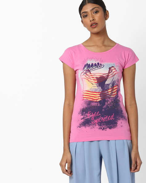 Graphic Print Cotton T-shirt By WRANGLER ( Pink )
