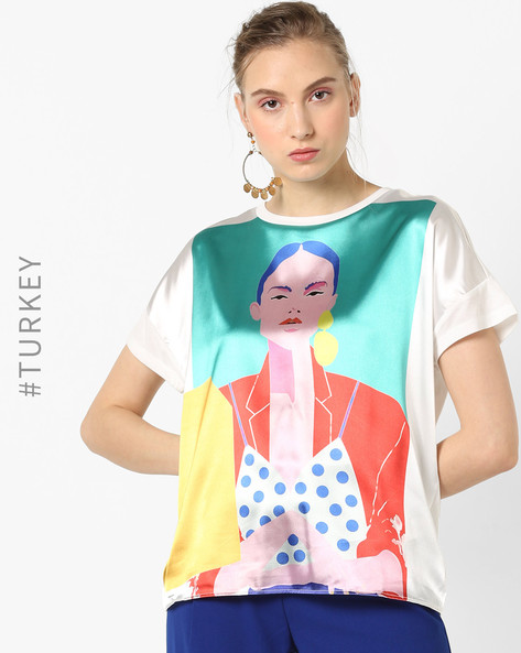 Graphic Print T-shirt With Drop Shoulders By TRENDYOL ( White )