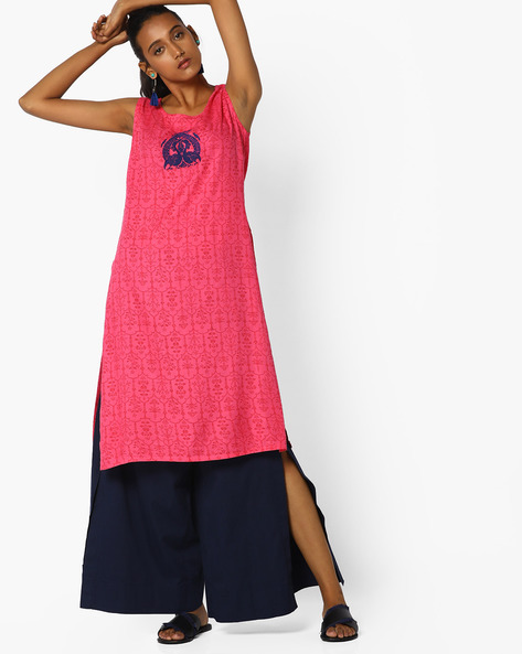 Printed Straight Kurta With Embroidery By AJIO ( Pink )