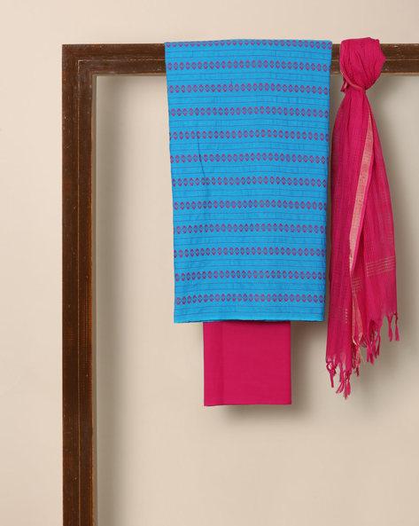 South Cotton Dobby Kurta Bottom Dupatta Fabric Set By Indie Picks ( Blue )