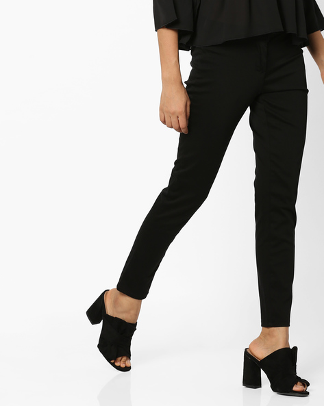 Mid-Rise Flat-Front Trousers By CODE By Lifestyle ( Black )
