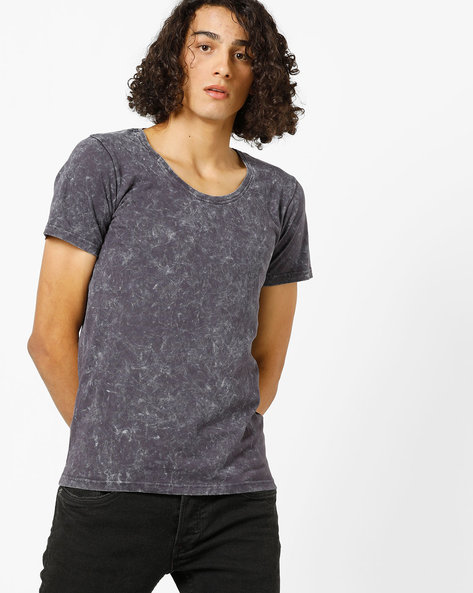 Crew-Neck T-shirt With Wash Effect By Blue Saint ( Lightgrey )