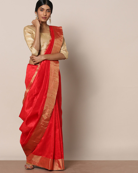 South Silk Saree With Striped Pallu By Pretty Woman ( Red )
