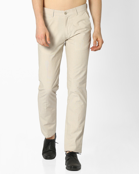 Flat-Front Slim Fit Cotton Trousers By NETWORK ( Cream )