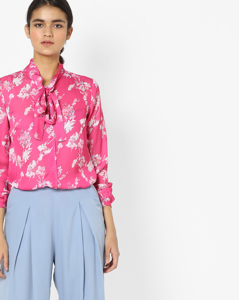 Floral Print Shirt With Tie-Up By Project Eve WW Work ( Lilac )