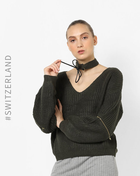 Pullover With Tie-Up Choker By TALLY WEiJL ( Green )