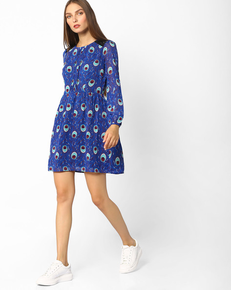 Printed Fit & Flare Dress With Lace Panel By Oxolloxo ( Blue )