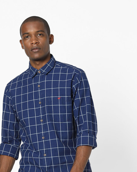 Checked Shirt With Patch Pocket By Wills Lifestyle ( Navyblue )