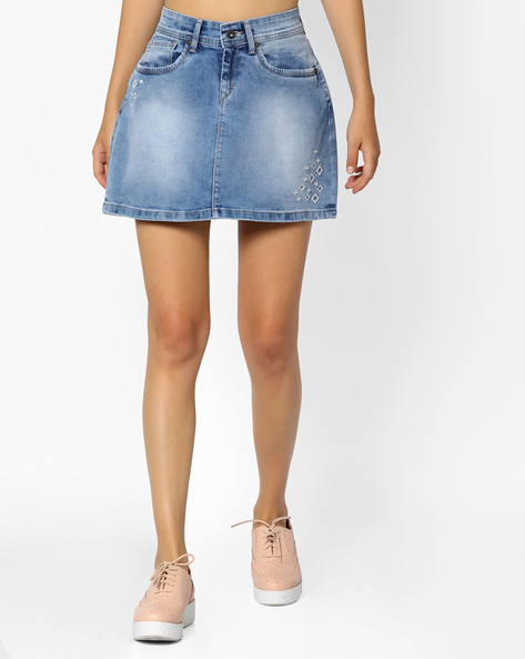 Denim Short Skirt With Placement Embroidery By Pepe Jeans ( Blue )