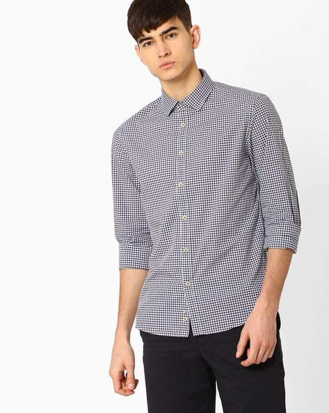 Checked Slim Fit Shirt By Celio ( Marine )