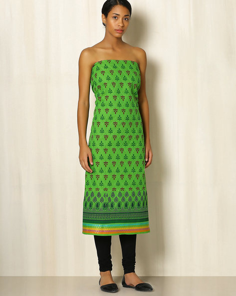 Printed South Cotton Kurta Fabric By Indie Picks ( Green )