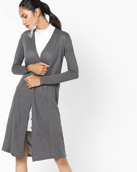 Open-Front Long Shrug By CODE By Lifestyle ( Darkgrey )