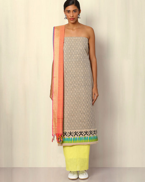 South Cotton Printed Dress Material By Indie Picks ( Grey ) - 460047111001