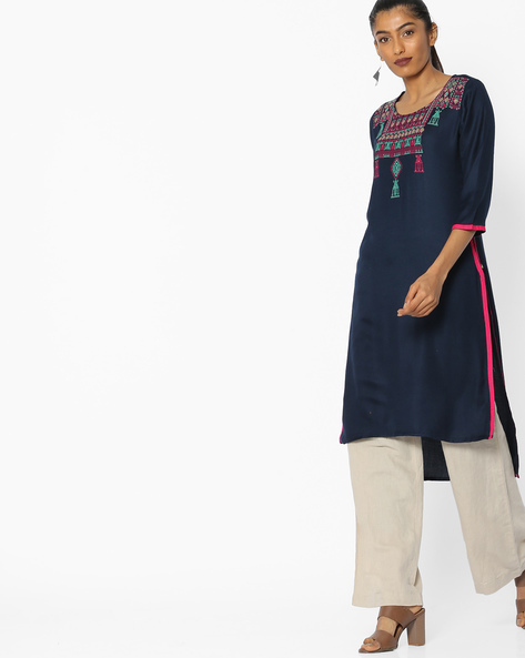 Embroidered Straight Kurta With High-Low Hem By AVAASA MIX N' MATCH ( Navy )