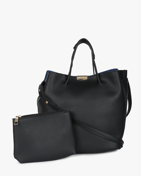 Colourblock Hobo Bag With Pouch By Lino Perros ( Black )