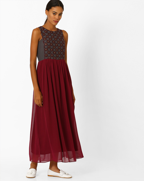 Printed A-line Maxi Dress By Global Desi ( Maroon )