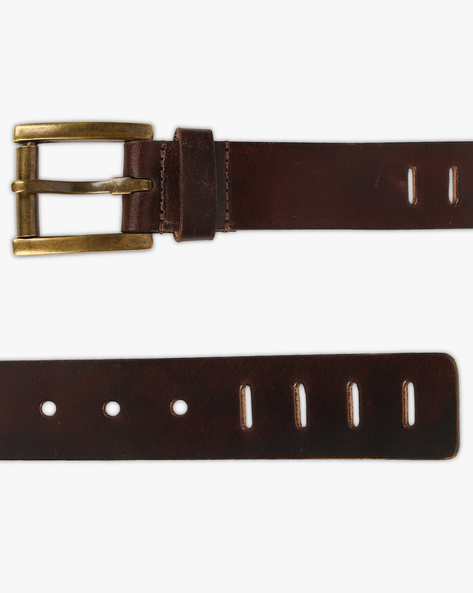 Genuine Leather Belt With Cut-Outs By AJIO ( Darkbrown )