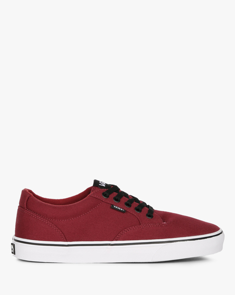 Casual Shoes With Lace-Ups By Vans ( Red )