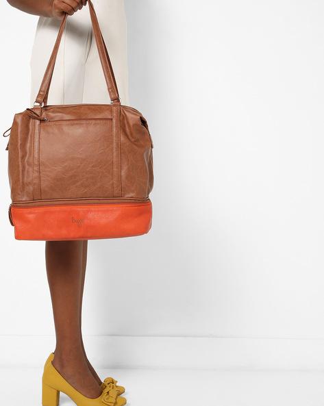 Textured Colourblock Tote Bag By BAGGIT ( Caramel )