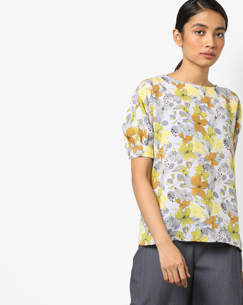 Floral Print Top With Puff Sleeves By AJIO ( Green )