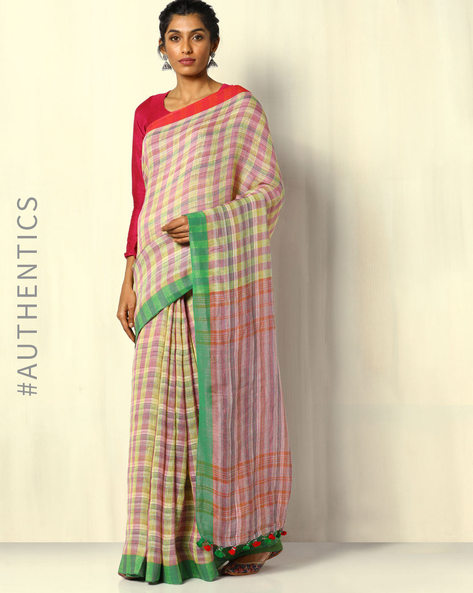 Handloom Bengal Pure Linen Check Saree With Pompoms By Indie Picks ( Multicolour )