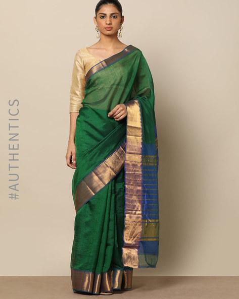 Handloom Mangalgiri Pure Silk Cotton Saree By Indie Picks ( Green )