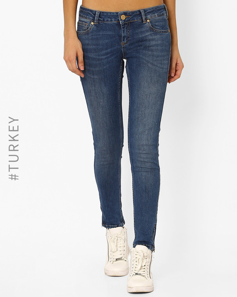 Lightly Washed Skinny Jeans By Cross Jeans ( Blue )