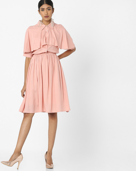Pop-Over Dress With Button Placket By Tokyo Talkies ( Peach )