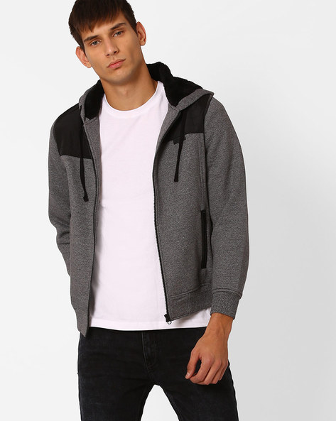 Regular Fit Hooded Sweatshirt By MONTE CARLO ( Grey )