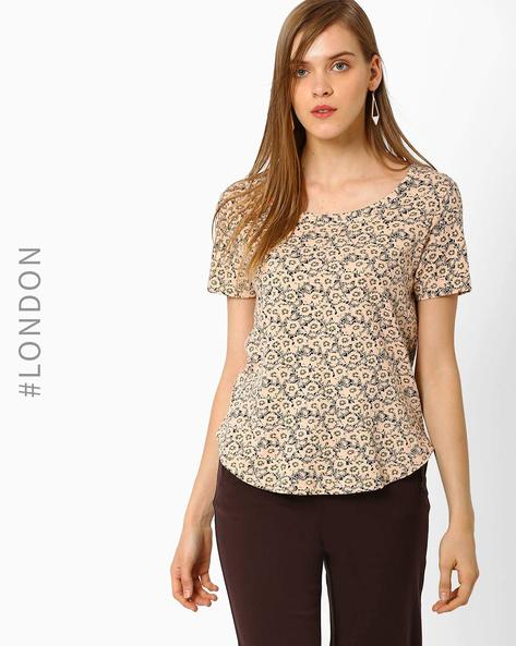 Floral Print High-Low T-shirt By Marks & Spencer ( Khaki )