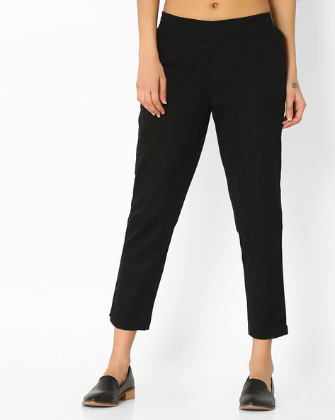 Cropped Pants With Elasticated Waist By Melange By Lifestyle ( Black )